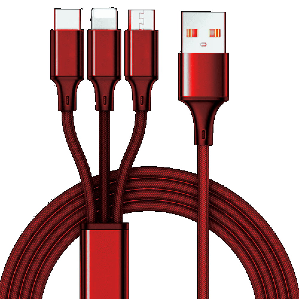 3 in 1 charging cable 10ft Red