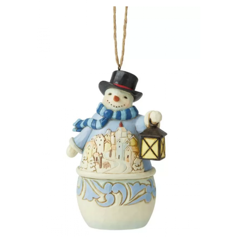 Ornament - Jim Shore - Snowman with Village
