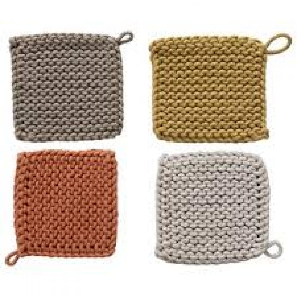 Pot Holder Cotton Crocheted 8in Square 4 Colors