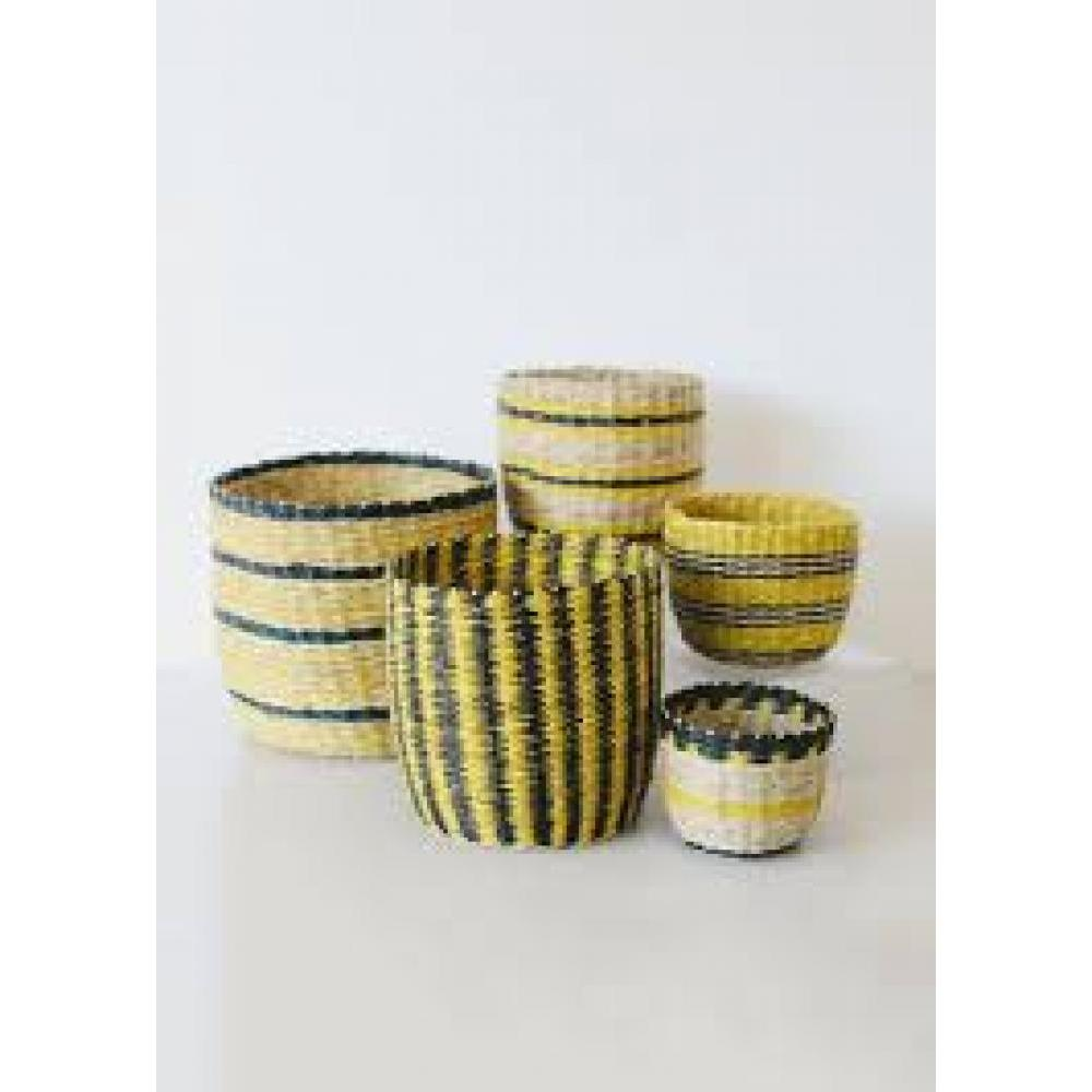 Hand-Woven Seagrass Stiped Baskets, Set of 5