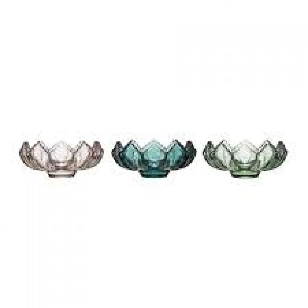 Tealight Holder Fluted Glass 3 Colors