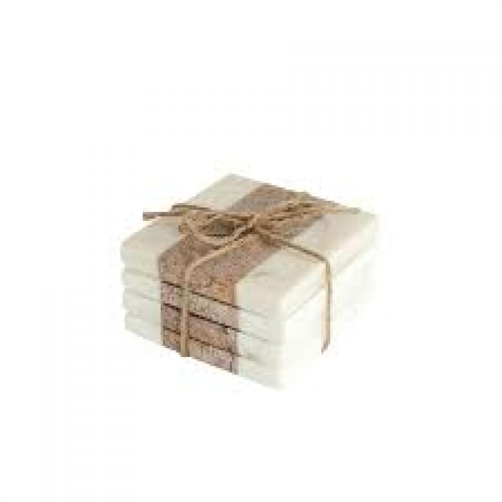 Square Marble Coasters, White & Natural, Set of 4