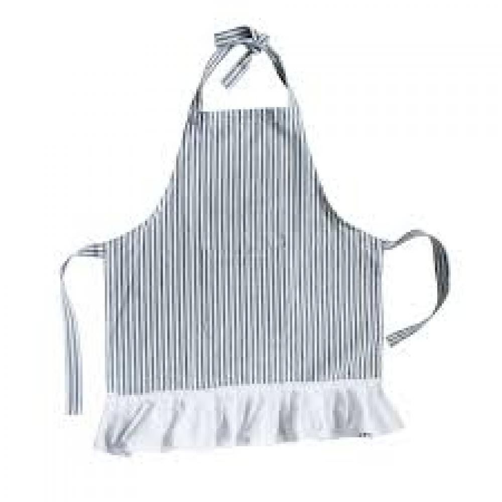 Apron Black And Cream Childs Cotton Woven With Pocket And Ruffle
