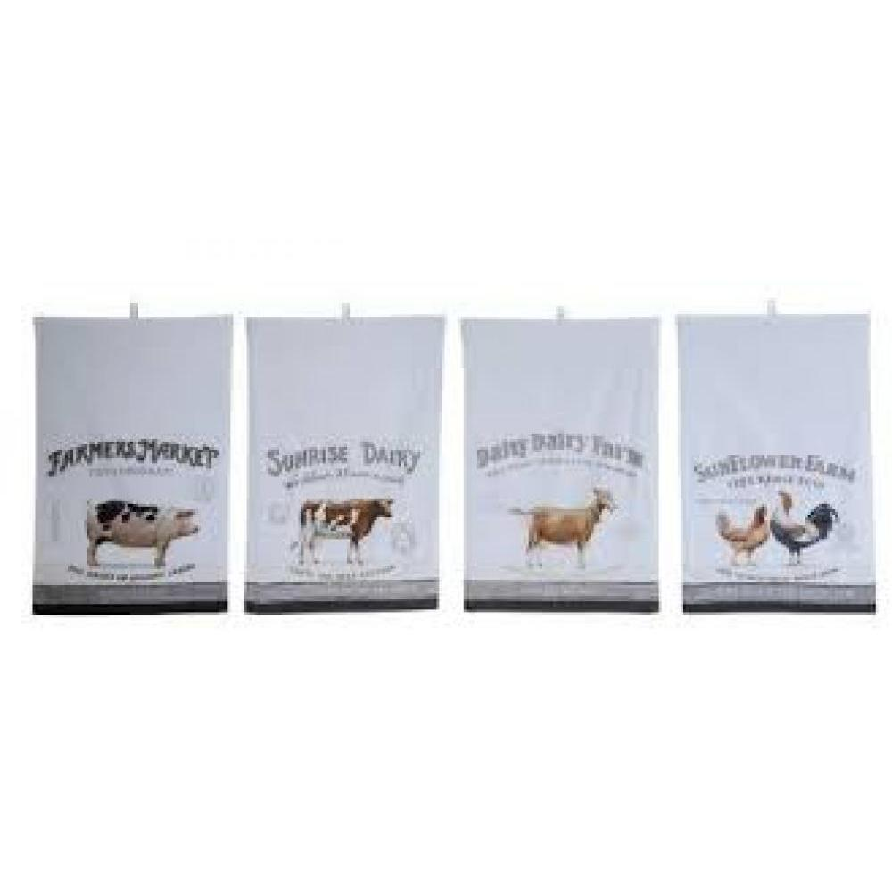 Cotton Tea Towel w/ Vintage Farm Animal, 4 Styles