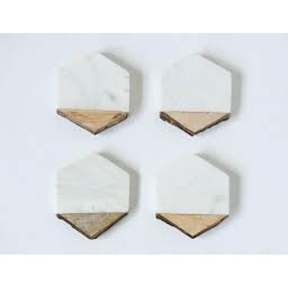 Coasters Marble and Mango Wood Hexagon Bark Edge White 4in Set of 4