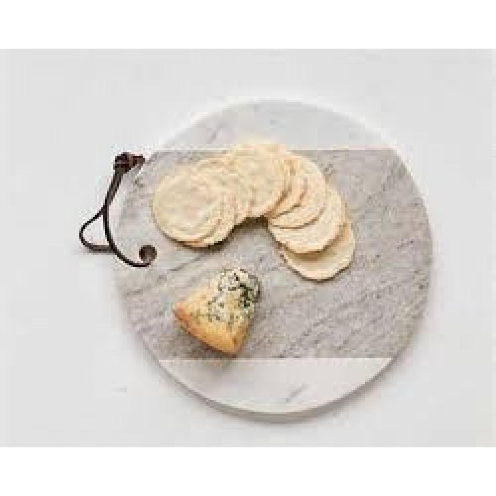Cheese Board Marble w/ Leather Tie Grey & White 9in Round