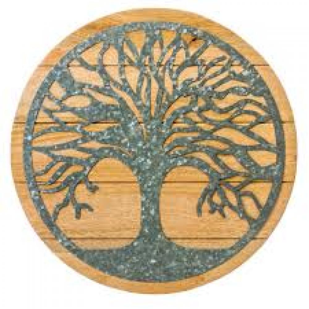 Round Tree of Life Wood & Metal Decor