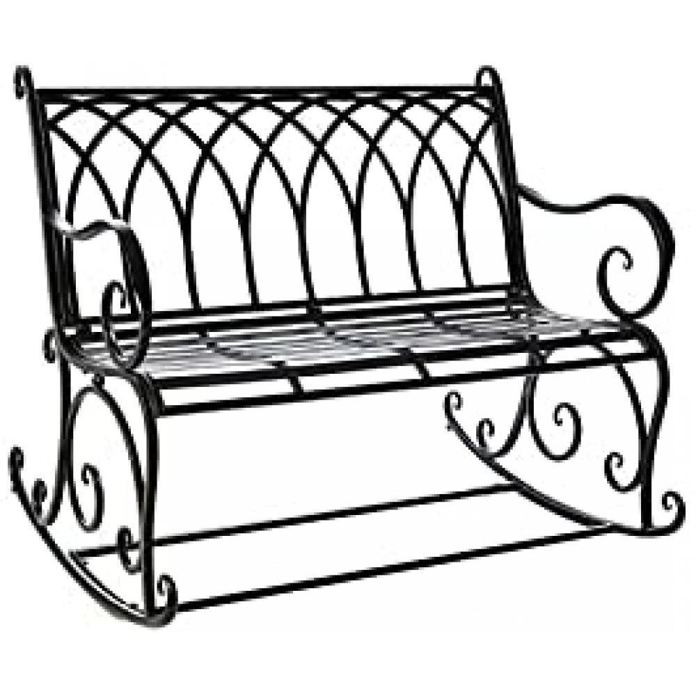 Black Rocking Garden Bench