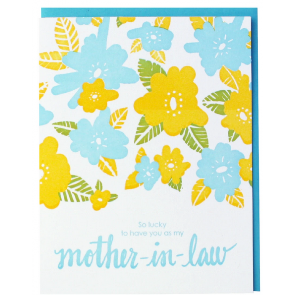 Mothers Day - Mother-in-law - Yellow Blue Flowers