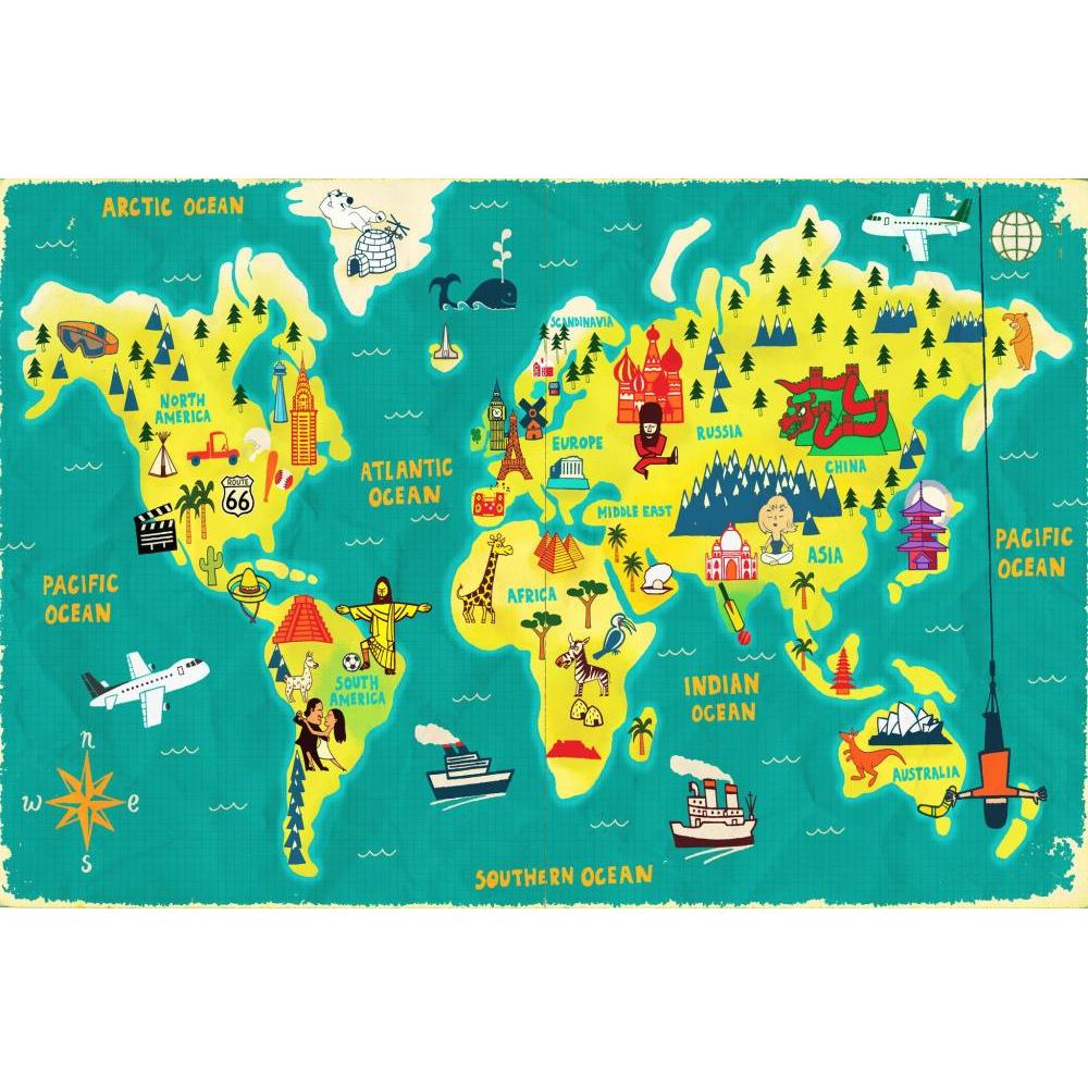 Paul Thurlby Collection Puzzle 36 Piece World Map