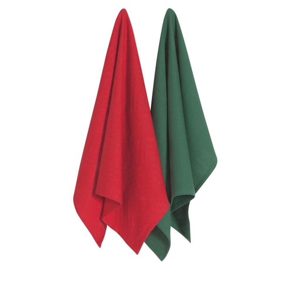 Mosaic Dishtowels Red pack of 2 (indv. $3.99)