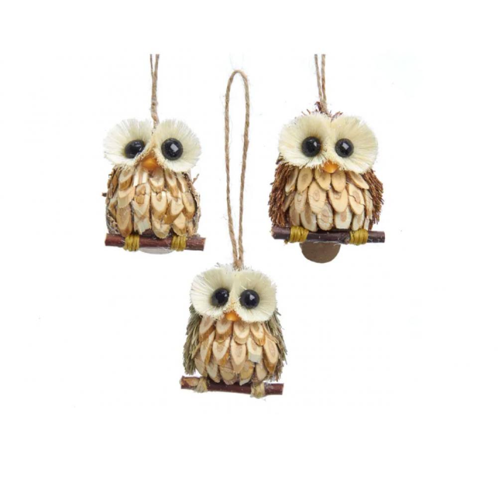 Ornament - Wood & Sisal Owl 2.4in