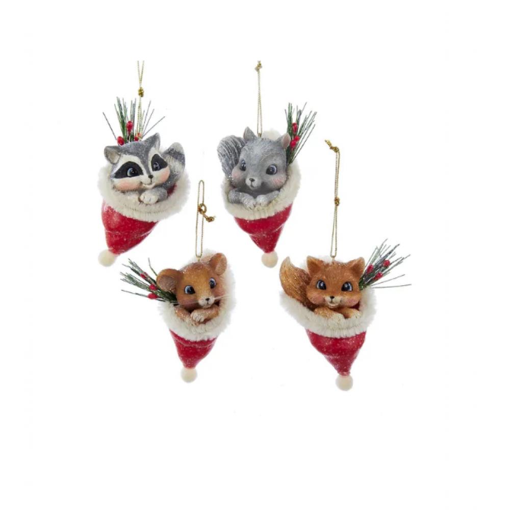 Ornament - Animal in Santa Hat 3.25in