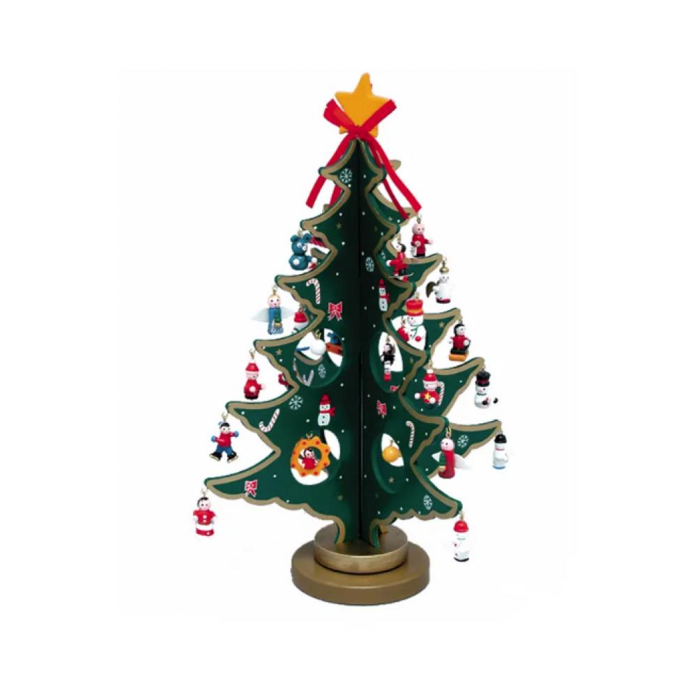 Wooden Tree w/ Mini Ornaments 11.75in