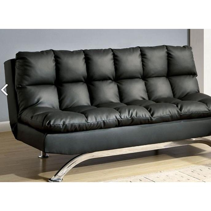 Aristo Adjustable Sofa Futon Black Leatherette