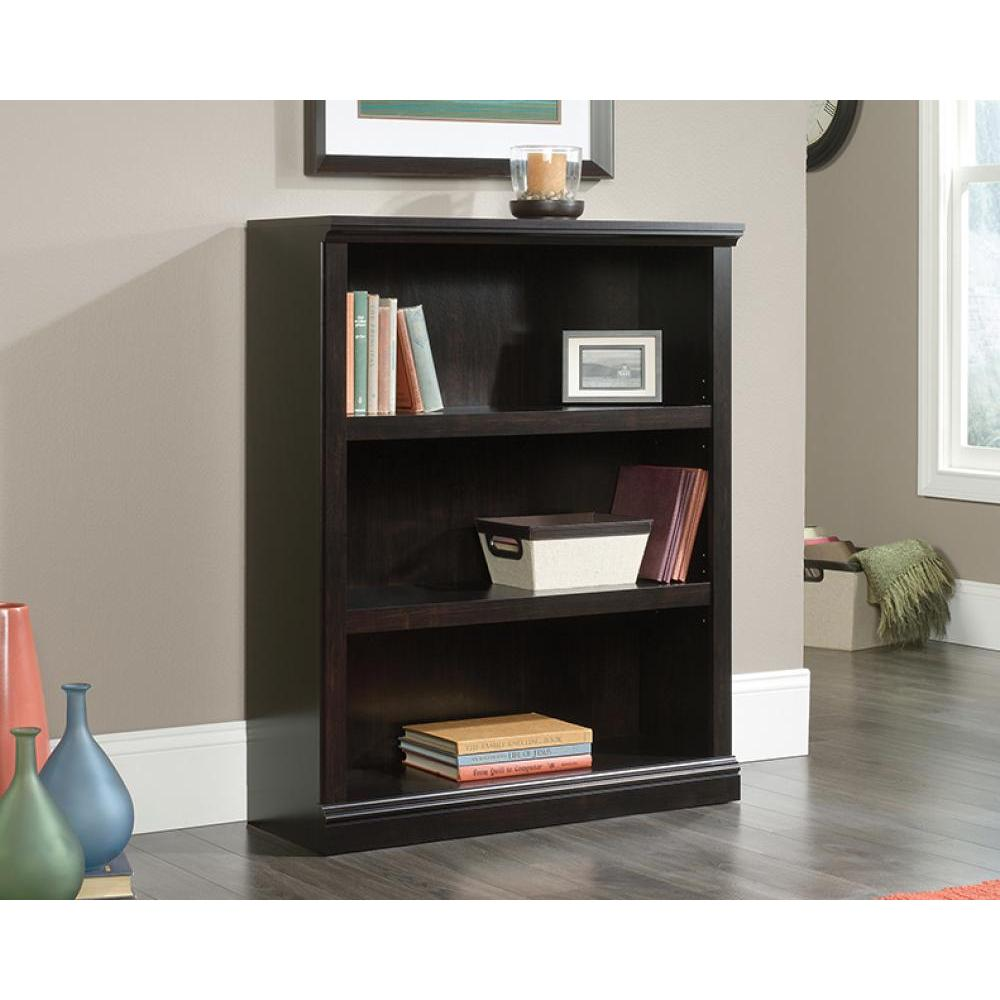 Sauder Select Bookcase Estate Black Finish Three Shelf