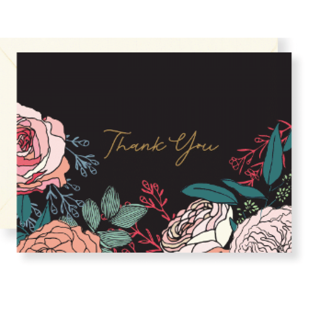 Boxed Card - Thank You Dark Rose
