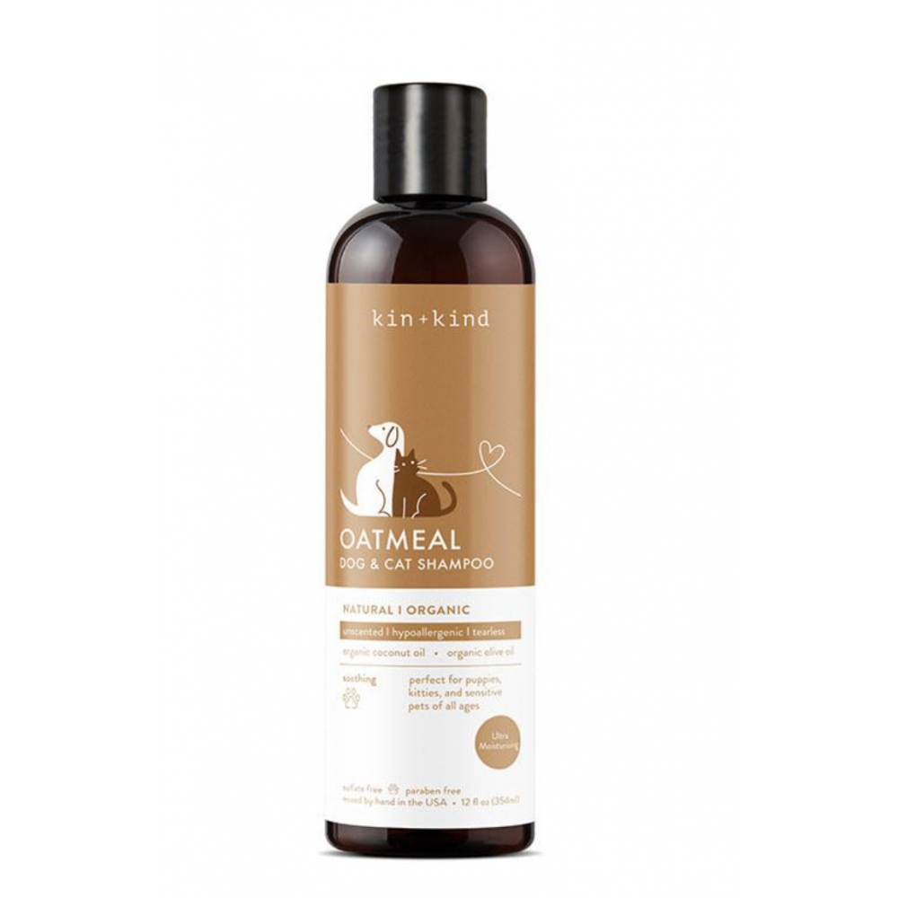 Pet Care Kin & Kind Organic Shampoo Oatmeal Hypoallergenic Tearless For Dog and Cats 12oz