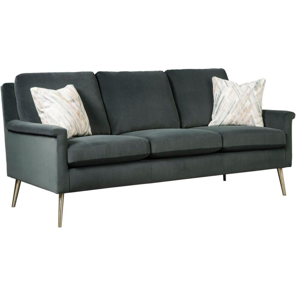 Dacey Sofa Brushed Gold Leg in Smoke Fabric Pillows Self