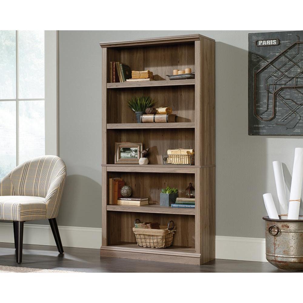 Sauder Select Bookcase Salt Oak Finish Five Shelf