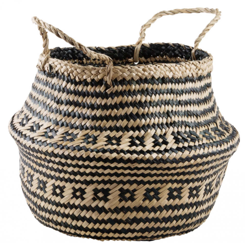 Black and White Seagrass Basket 15.75in