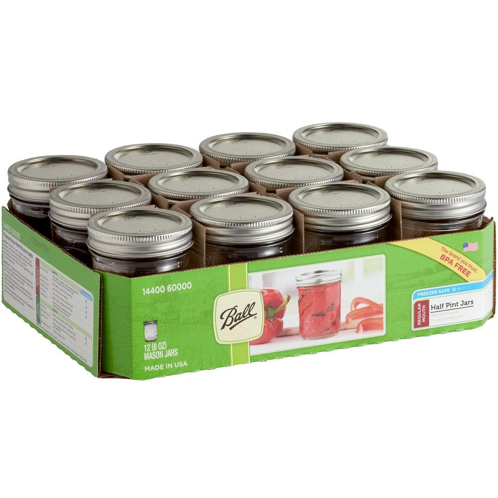 Ball 8oz. Half-Pint Regular Mouth Glass Canning Jar with Silver Metal Lid and Band - 12/Case