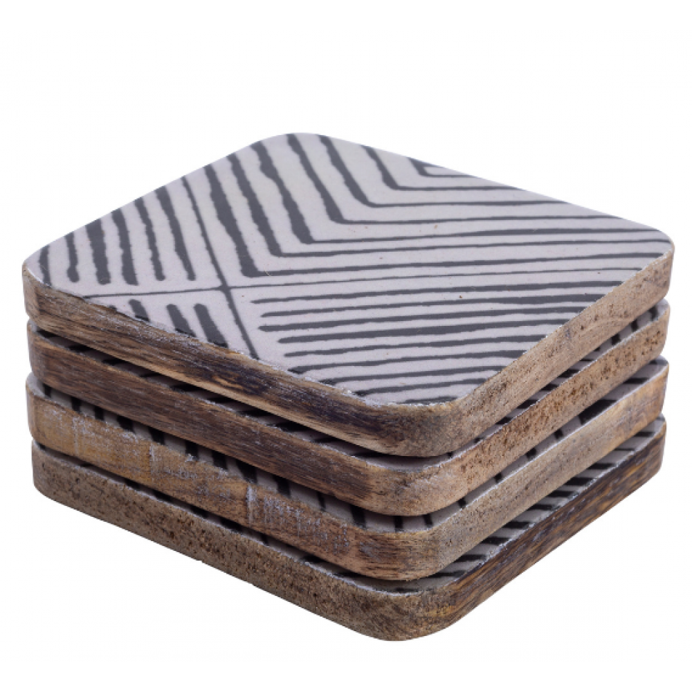 Striped Wood Enamel Square Coasters