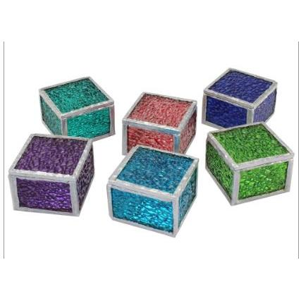 Ring Box Rainwater Glass 6 Assorted Colors Large