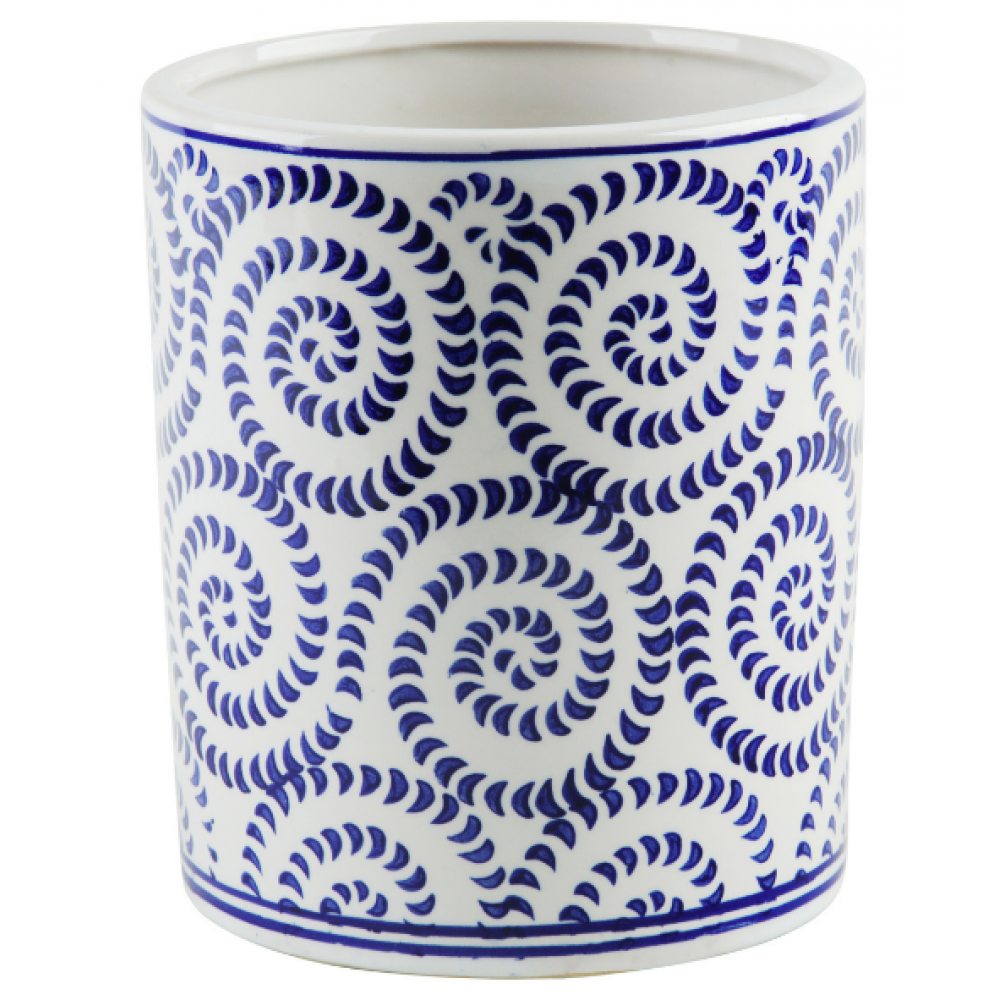 Utensil Crock - Blue and White Swirls 5.5inD