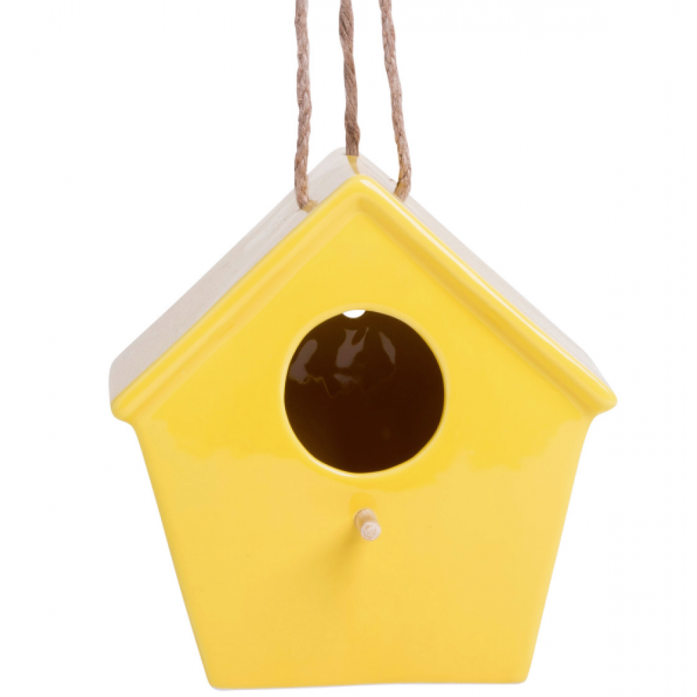 Yellow Bird House 7inH