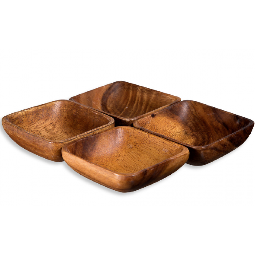 Square Dip Bowls in Natural Netting Acacia Wood S/4