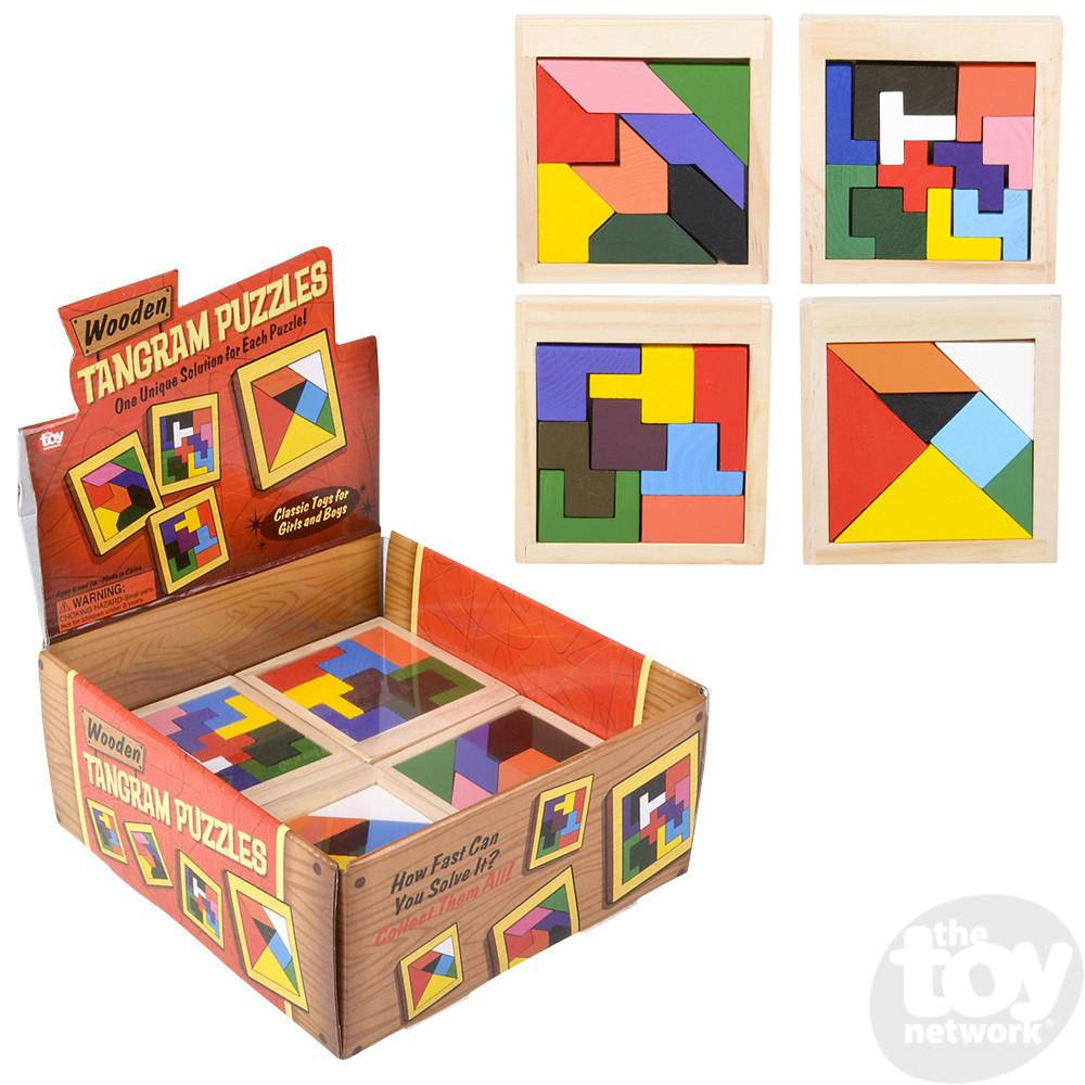 Tanagram Wood Puzzle Brain Teaser 4 Assorted 4in