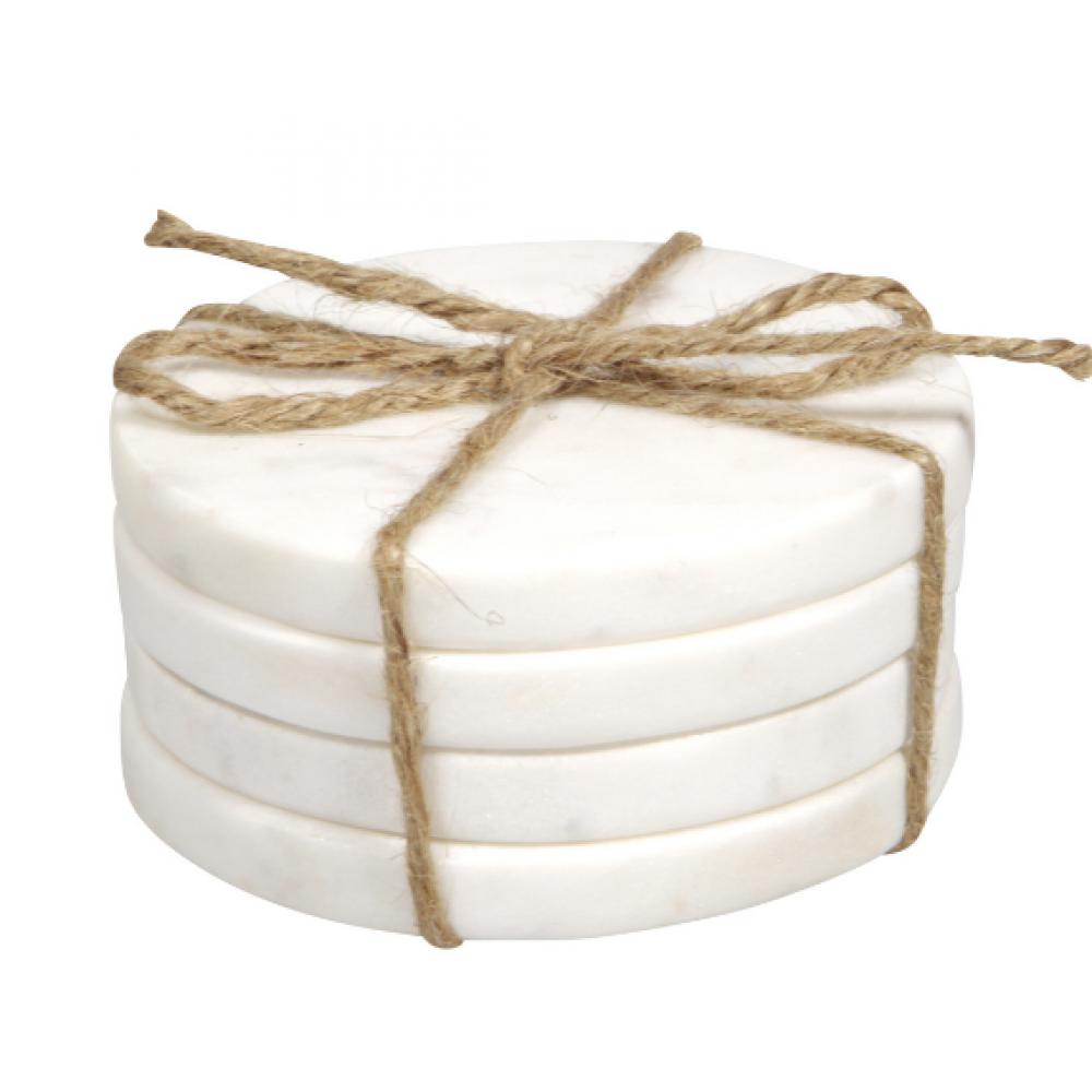 Coasters - Round White Marble