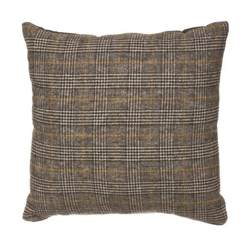 Pillow Wool Blend Plaid Grays and Gold