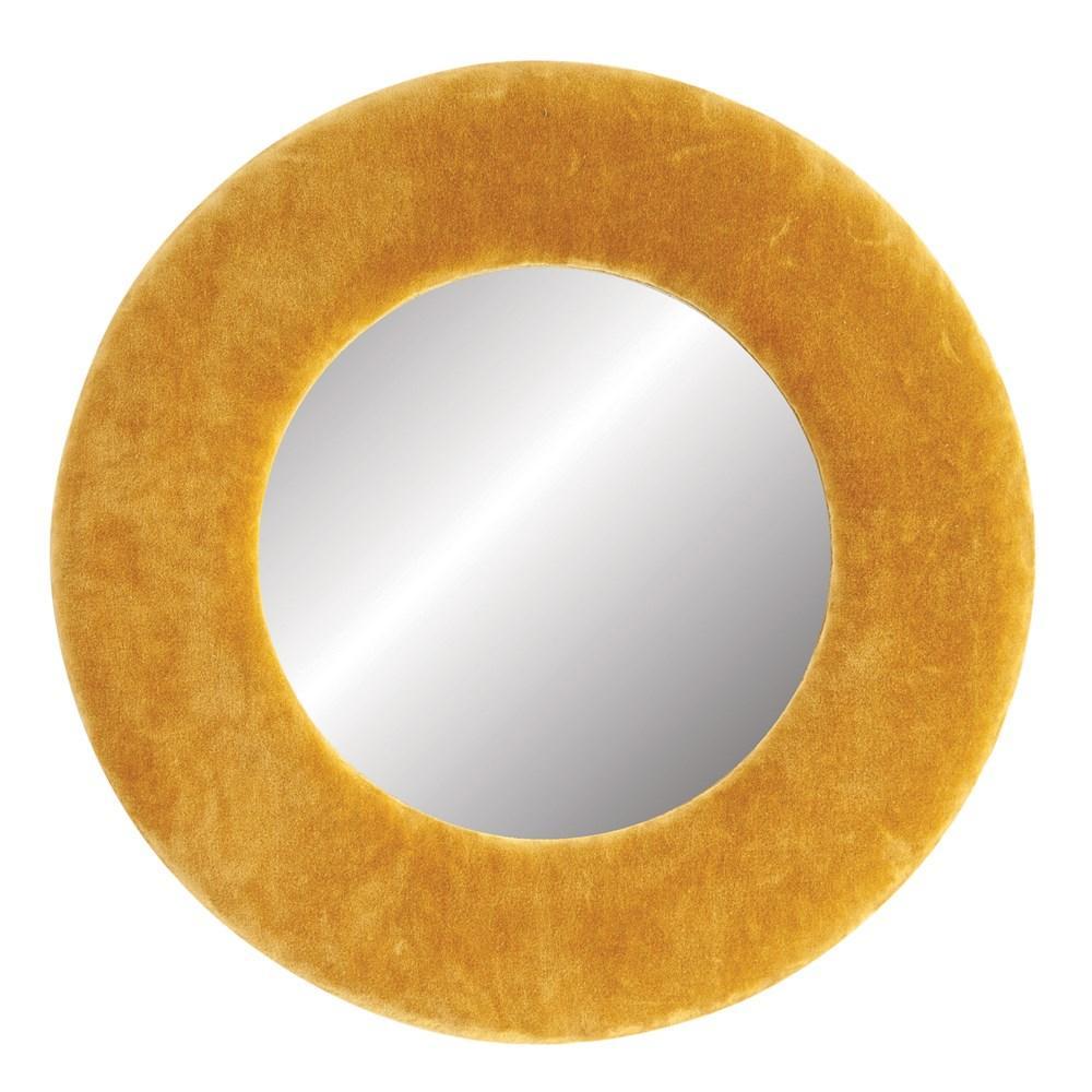Mirror Round Velvet Mustard