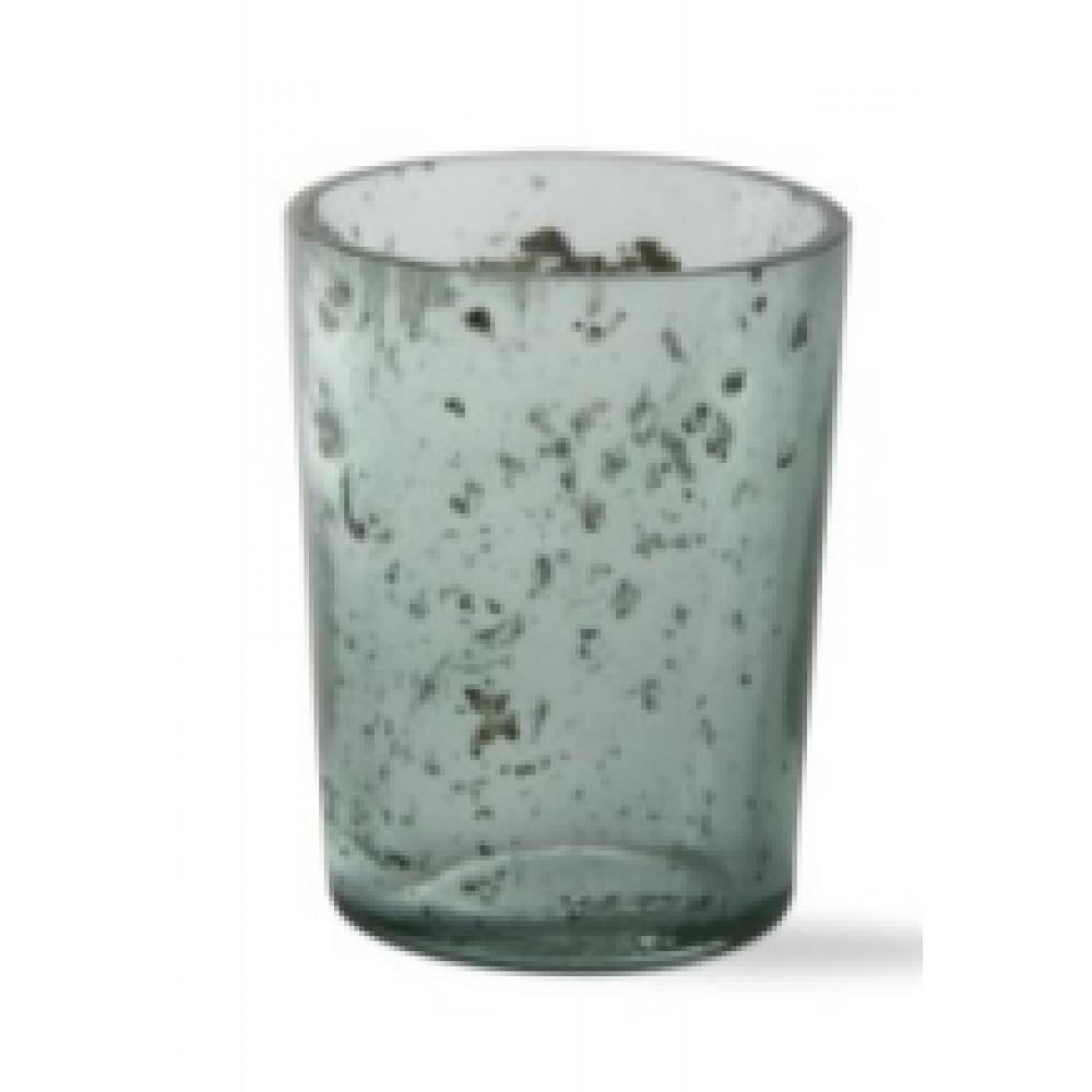 Mineral Glass Tealight Holder, Green