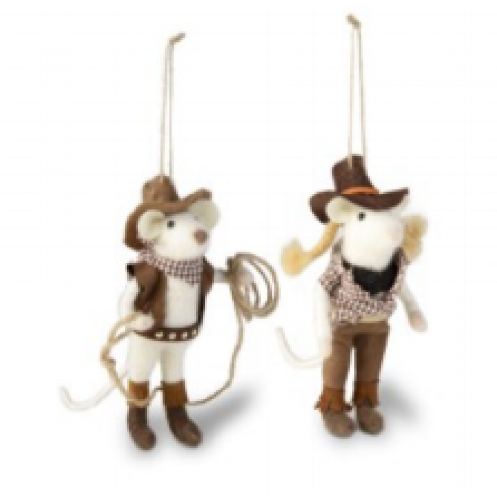 Cowgirl and Cowboy Mice Ornament
