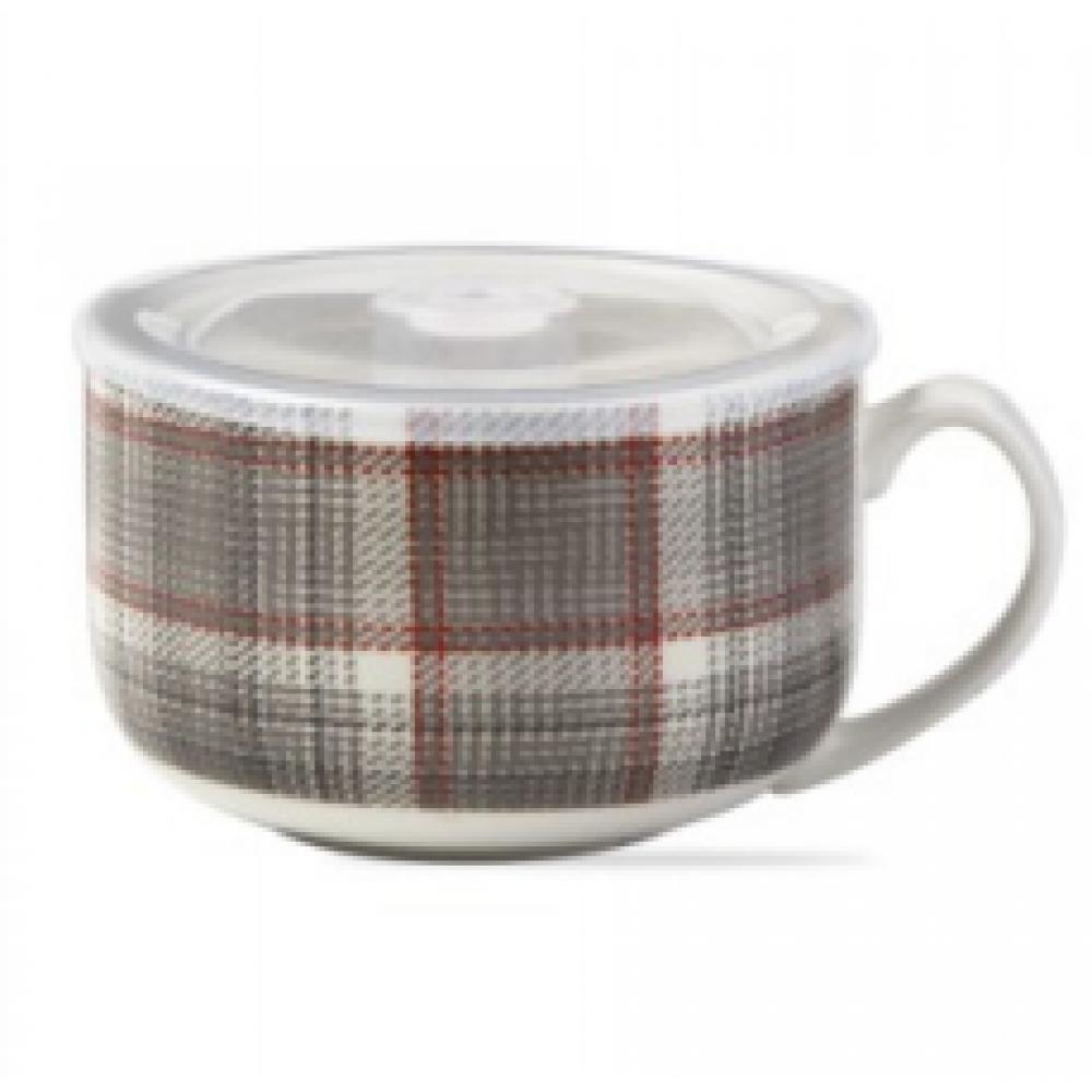 Soup Mug Gray Multi Winter Plaid w/ Lid