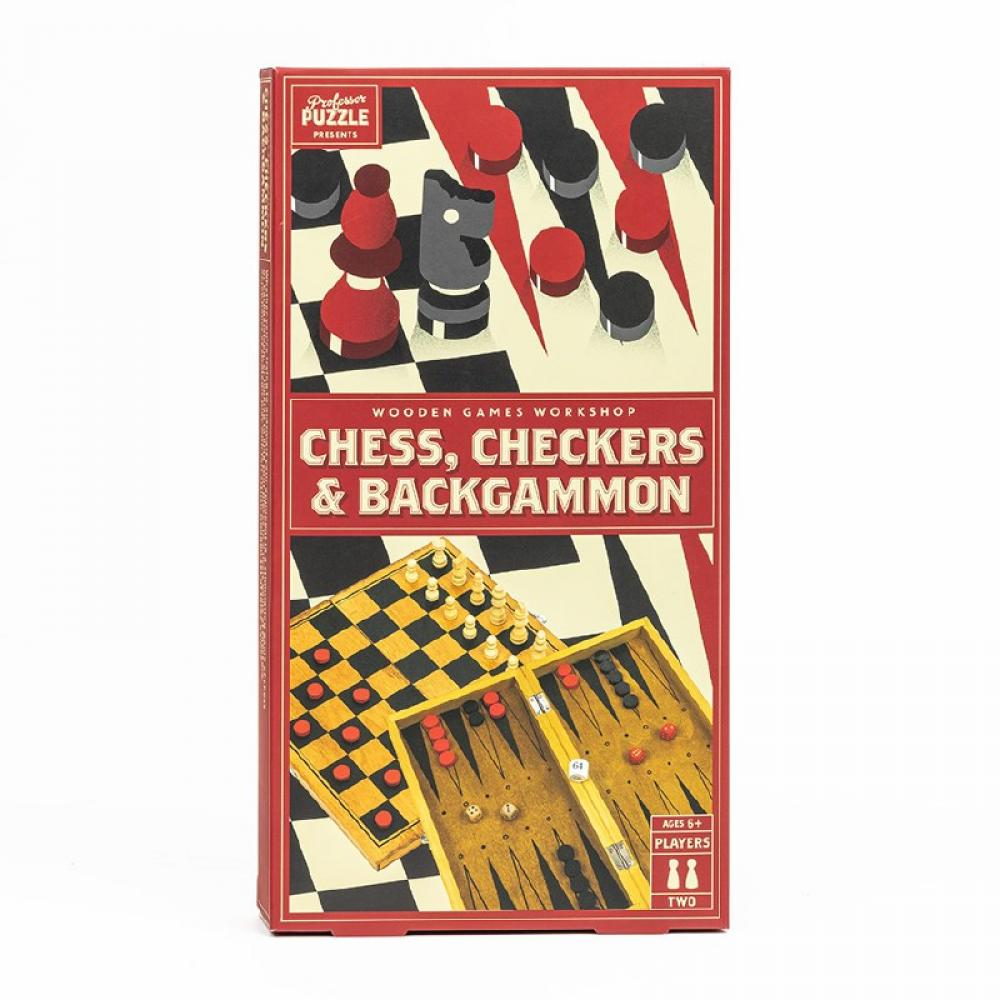 Wooden Games Chess, Checkers and Backgammon