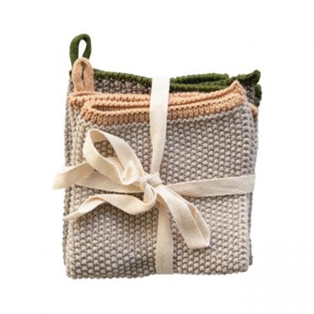 Dish Cloth - Square Cotton Knit w/Loop S/2