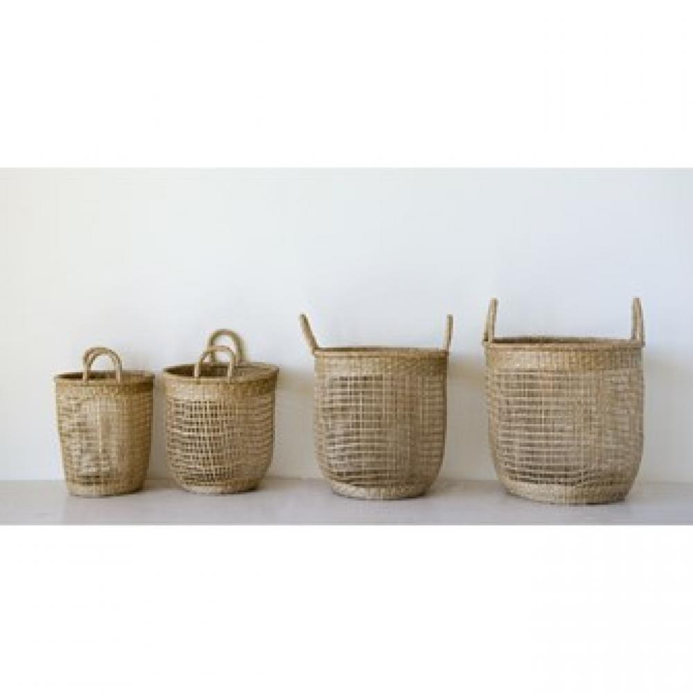 Baskets - Natural Hand Woven Seagrass w/handles S/4