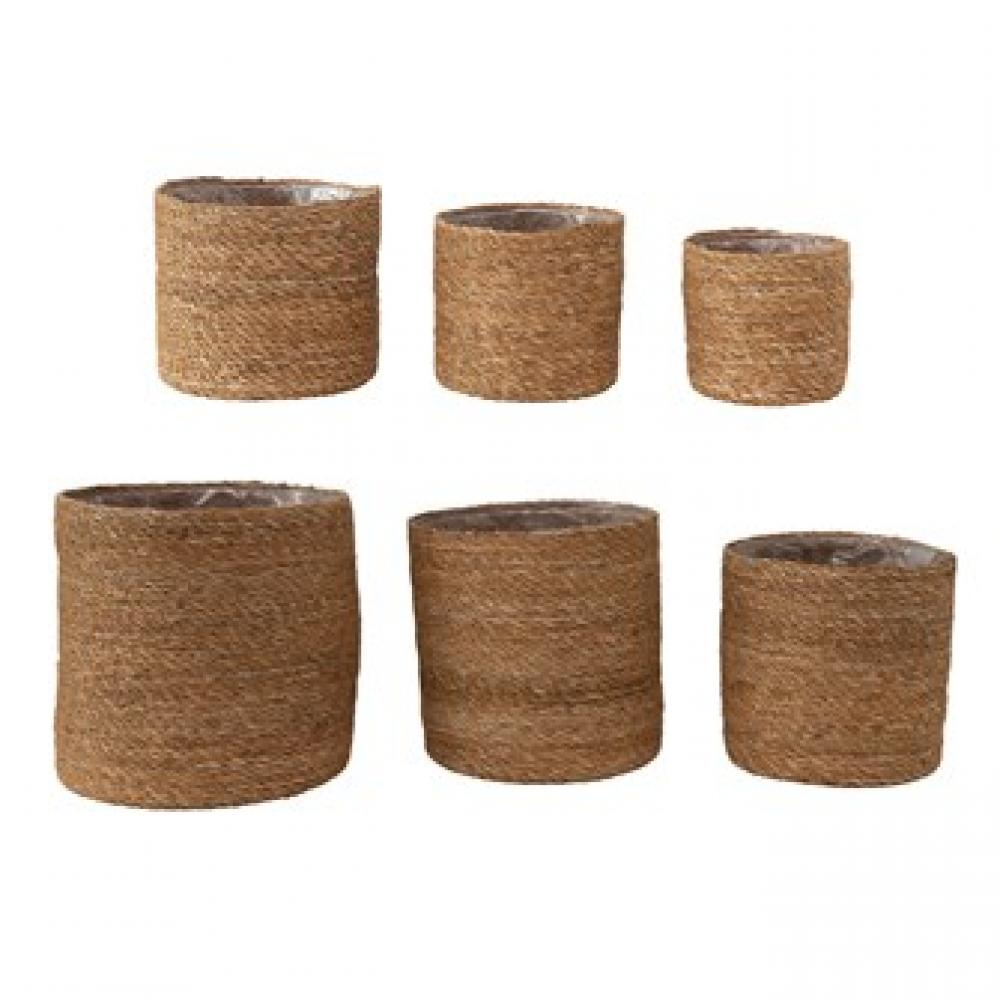 Baskets - Handwoven seagrass w/plastic lining S/6  6.99-8.99-10.99-12.99-15.99-18.99