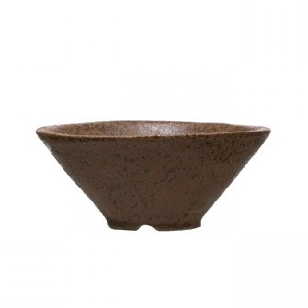 Stoneware Bowl - Reactive Glaze, Matte Brown 5in Round
