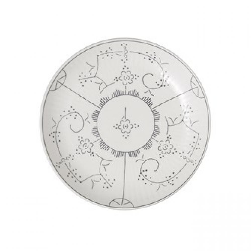 Stoneware Plate - Vintage Hand-stamped white and grey