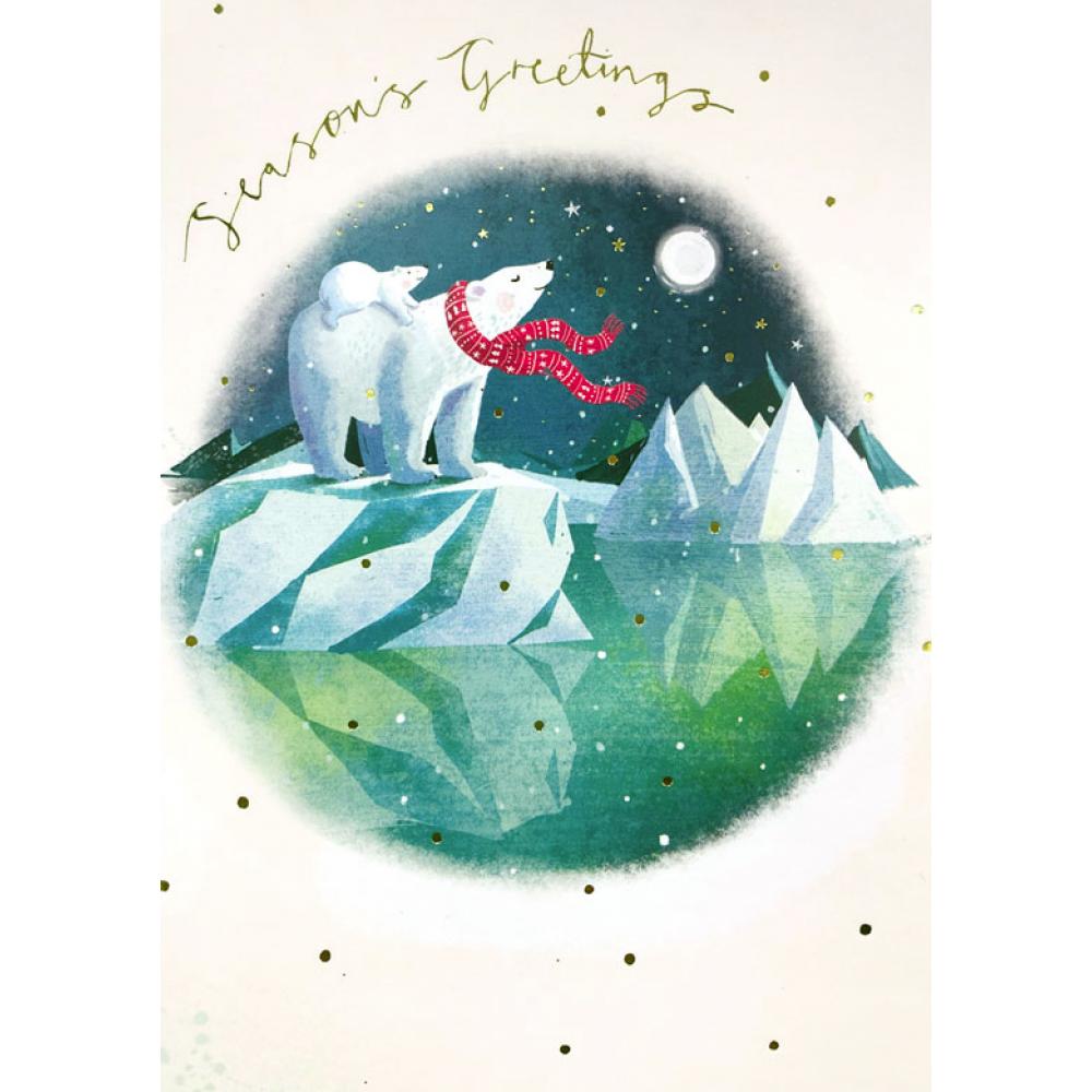 Xmas Card - Polar Bear and Moon