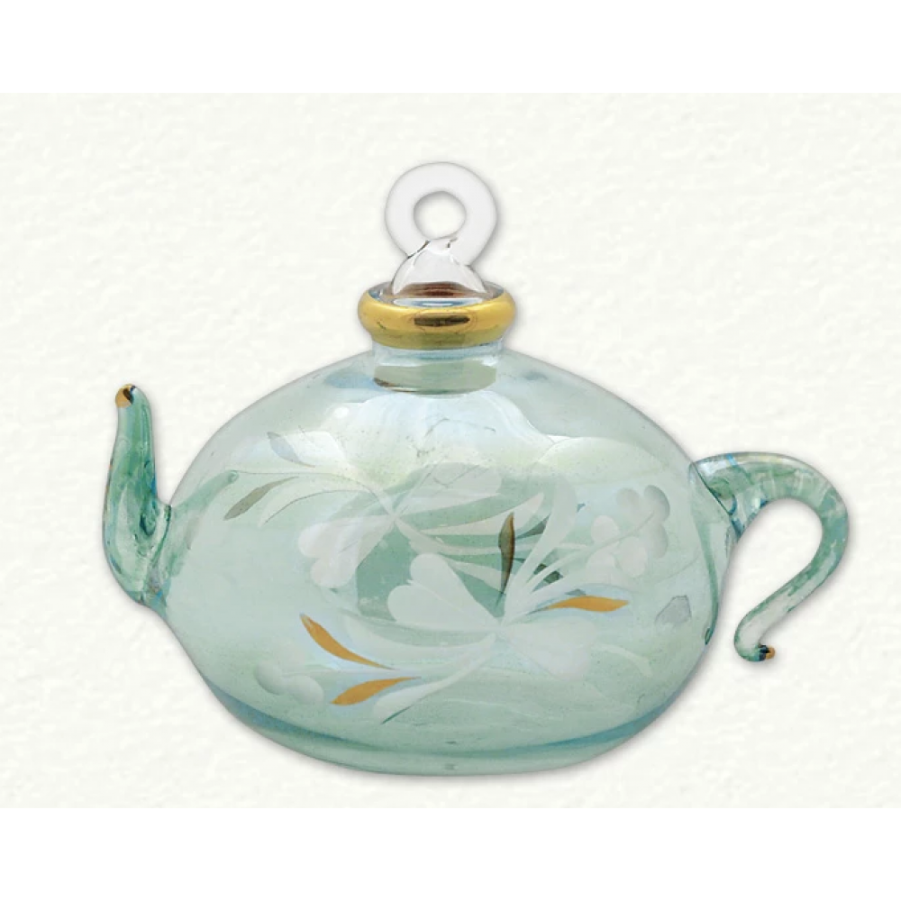 Ornament - Teapot Etched Green Square
