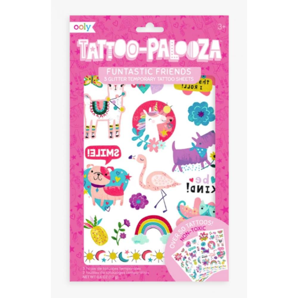 Tattoo Palooza: Funtastic Friends Glitter - 3 sheets