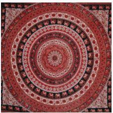 Tapestry Single Elephant Medallion Brown and White 52in x 83in
