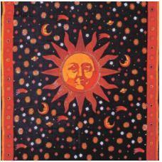 Tapestry Single Sun Black and Orange 52in x 83in