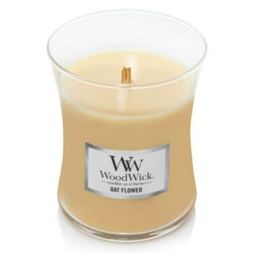 Woodwick Medium Candle Jar Oat Flower 10oz 60 Hour Burn Time